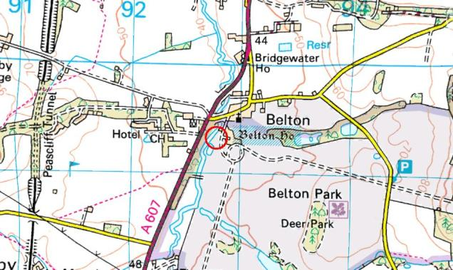 Location of Belton House, just outside Grantham