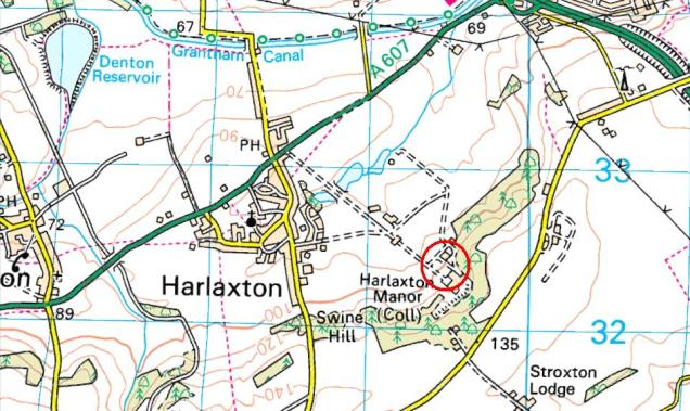 Location of Harlaxton Manor, just outside Grantham