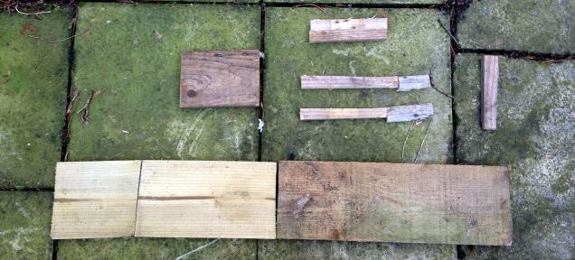 The constituant parts of the Kent Bat Box, cut to size. At the bottom you can see the three boards of varying lengths, at the top right is the top for the box, top left are the battons used to create the cavities.