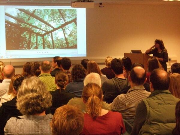 Morgan Bowers talking about the Brumbats Flight Cage at the BCT Midlands Bat Conference 2014 (image borrowed from the BCT Twitter feed)