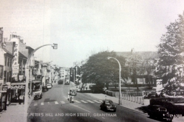 St Peter's Hill in the 1950's with the Granada and Picture House cinemas on the left and the copper beech to the right. Source: Grantham Cinemas - When the Curtain Falls