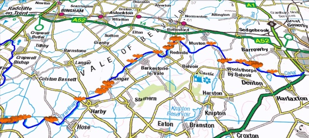 The orange bat symbols in this map indicate the locations where common pipistrelle bats were identified. The A1 which dissects the canal is at the far eastern end with Hickling Basin marking the western extent